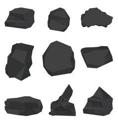 Coal stones set vector