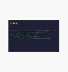 Code window development computer program with vector