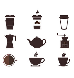 Coffee cups and pots coffee pot and cup vector