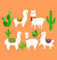 Colorful set of funny and cute lamas vector