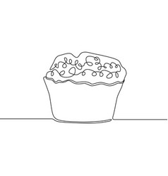 continuous one line drawing muffin vector image