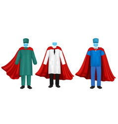 corona virus pandemic doctor super hero set vector image
