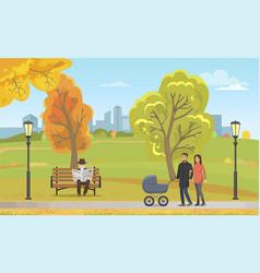 couple pram walking autumn park together vector image