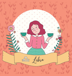 Cute horoscope zodiac girl libra vector