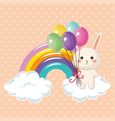 cute rabbit with rainbow kawaii birthday card vector image