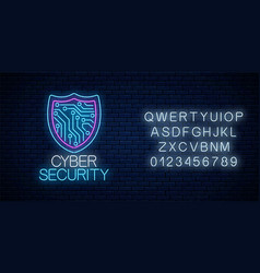 cyber security glowing neon sign with alphabet vector image