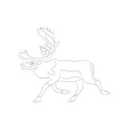 Deer running lines vector