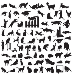 Different set of silhouettes of cats vector