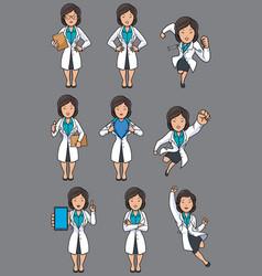 doctor asian female set vector image