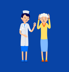 doctor or nurse gives pill to an elderly woman vector image
