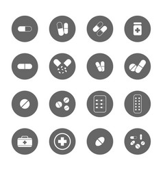 Drug icons set vector