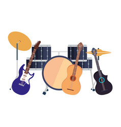 drums with guitars instruments vector image