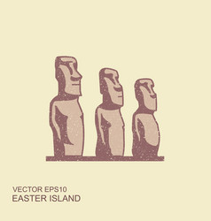 Easter island statues icon in vector