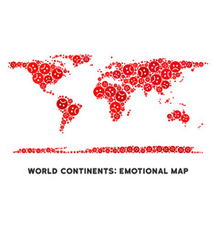 Emotional world continent map composition vector