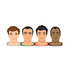 faces four men different kind skin vector image