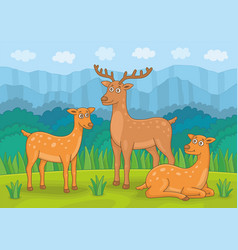 family deers vector image