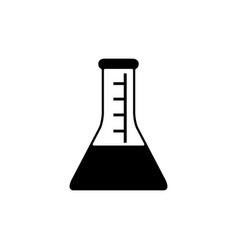 flat conical flask icon vector image