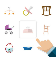 Flat icon baby set of mobile tissue pinafore and vector