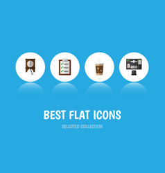 Flat icon life set of clock questionnaire bureau vector