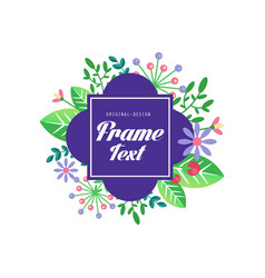 floral logo with frame and space for text vector image