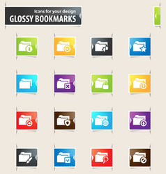 Folders bookmark icons vector