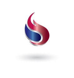 glossy flame 3d abstract logo vector image