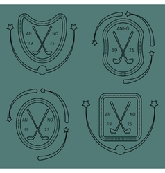 Golf sport items linear set vector