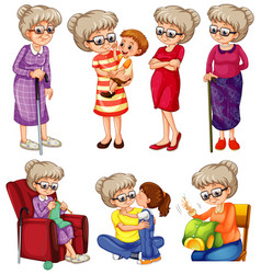 Grandmother doing different things on white vector