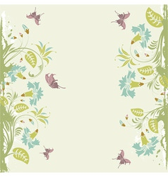 grunge decorative floral frame with butterfly elem vector image
