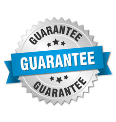 Guarantee 3d silver badge with blue ribbon vector