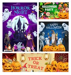 Halloween pumpkins bats ghosts mummy and death vector