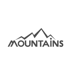 Hand drawn mountains badge wilderness old style vector