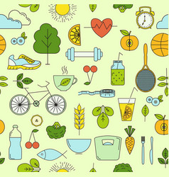healthy lifestyle seamless pattern vector image