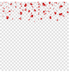 heart falling confetti isolated white transparent vector image