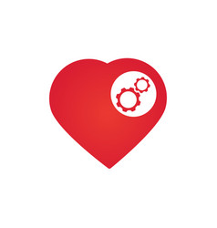 heart with gears isolated on white background vector image