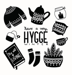 Hygge concept with black and white hand lettering vector