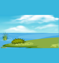 Landscape background design with lake and green vector