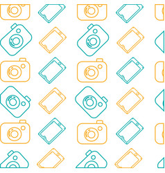 line digital camera and smartphone technology vector image