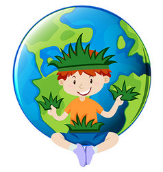 Little boy and earth theme vector