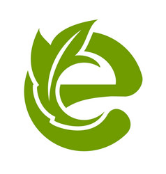 logo e letter with leaves vector image