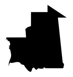 mauritania - solid black silhouette map of country vector image