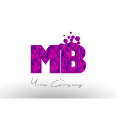 Mb m b dots letter logo with purple bubbles vector