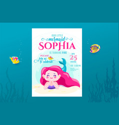 mermaid birthday cute invite card design for vector image