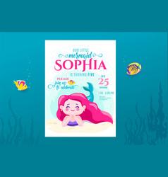 mermaid birthday cute invite card design vector image
