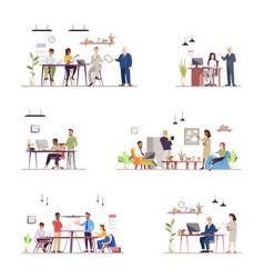 Office work organization flat set vector