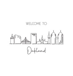 one continuous line drawing oakland city vector image