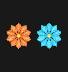 orange and light blue diamond flower vector image