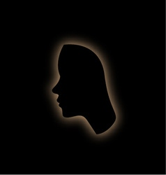 Outline of the form of a womans face in the dark vector