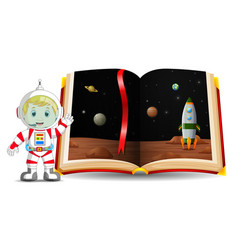 planet scenery in the book and kid vector image