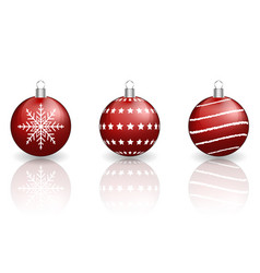 red christmas baubles on white background vector image